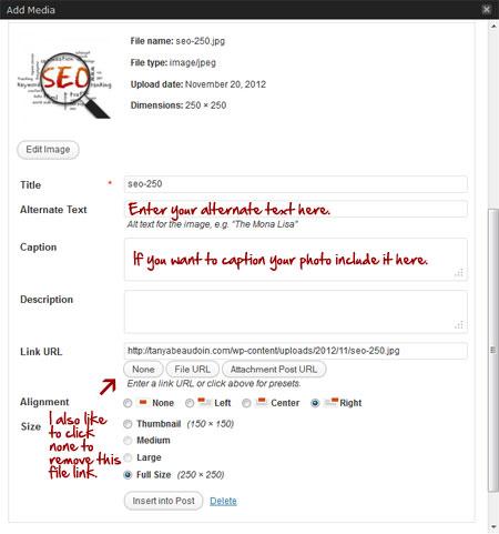 Setting image alternate text in wordpress